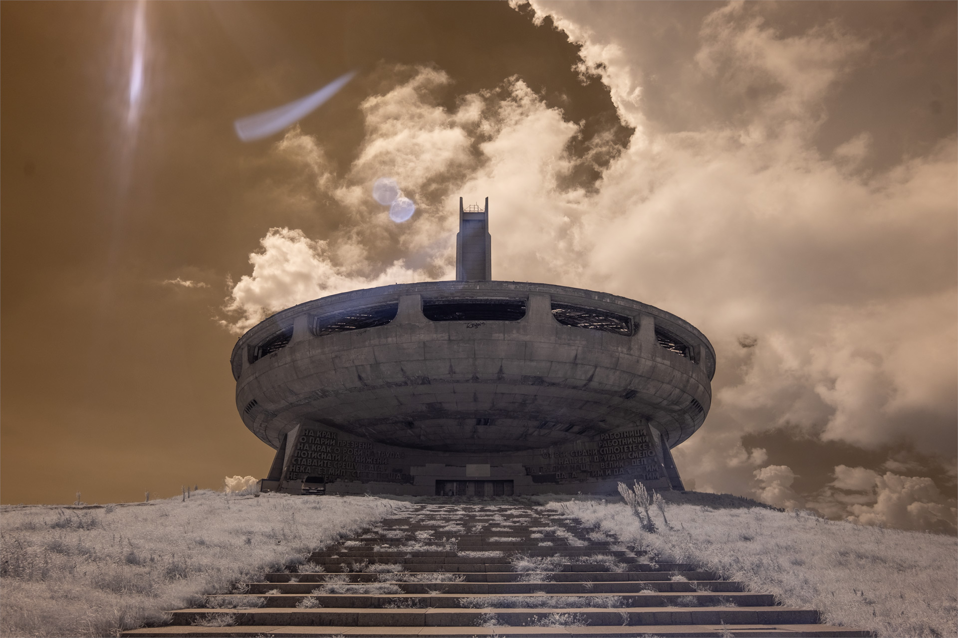 Buzludzha Monument, Bulgaria (IR) (2018) / Show the Original, Landscape Photography, Infrared, Fujinon XF 14mm f/2.8, Fujifilm X-E2, Buzludzha, Bulgaria [buzludzha monument ir 2018 o]